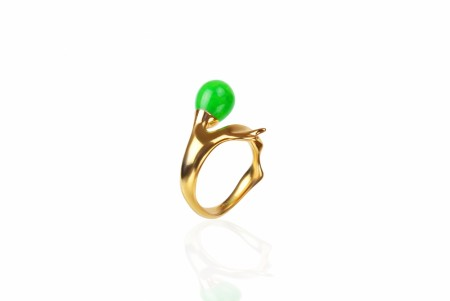 Branch ring med Jade, forgylt