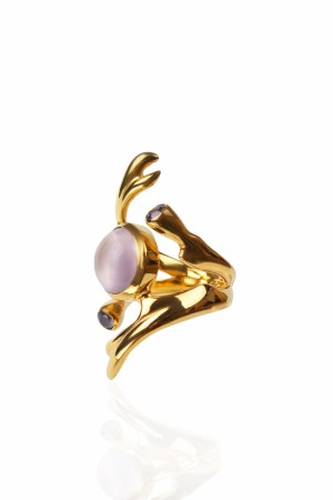 Freesia ring med Rose quartz, forgylt.