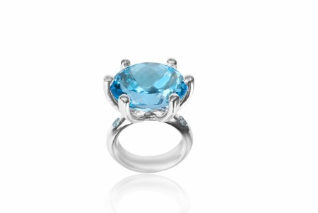 Cocktail claw ring med Topaz