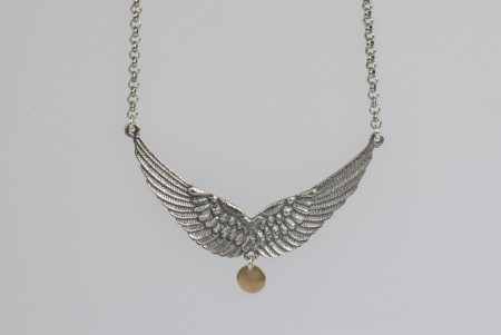 Dobbel wing necklace oxidized
